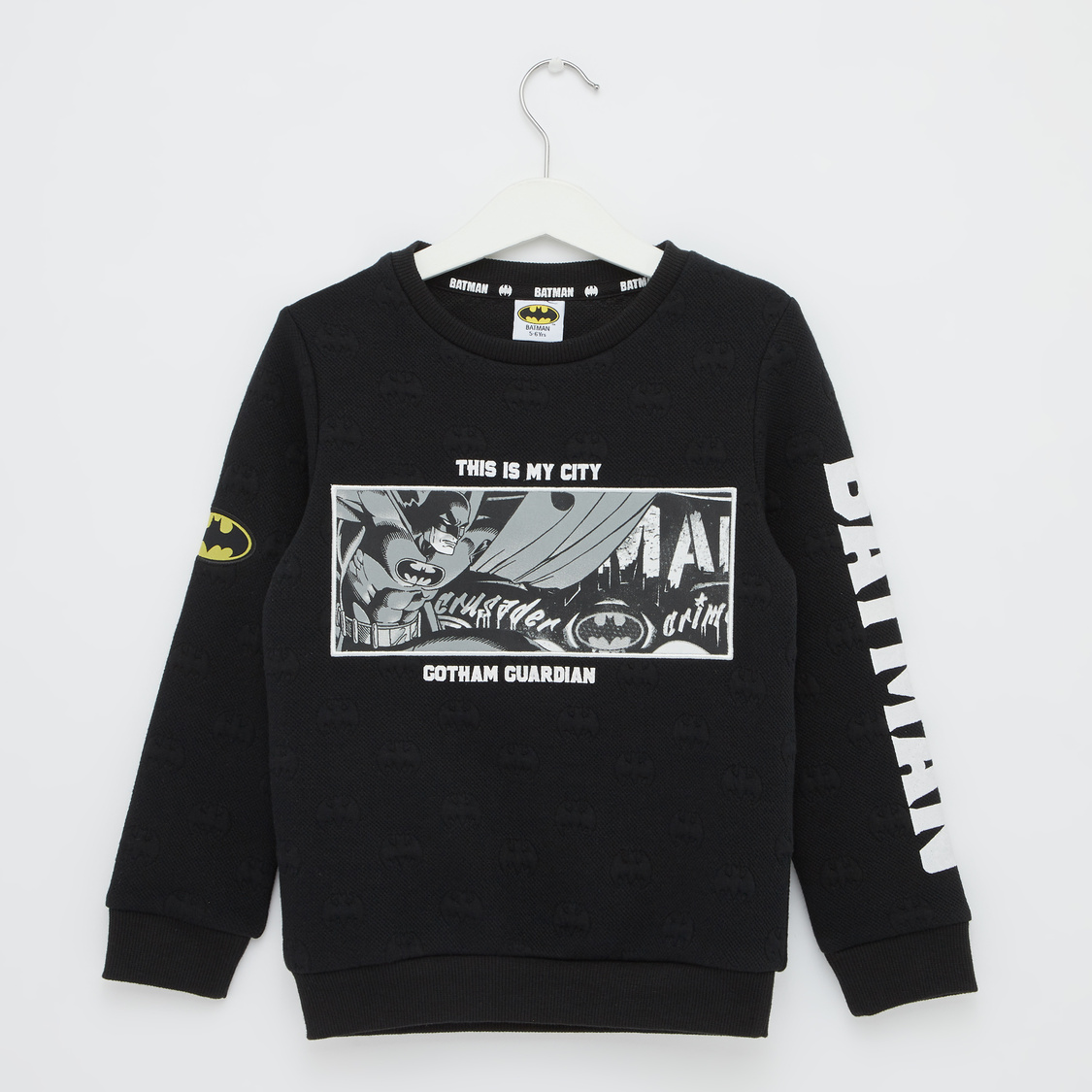 Batman Print Sweat Top with Round Neck and Long Sleeves