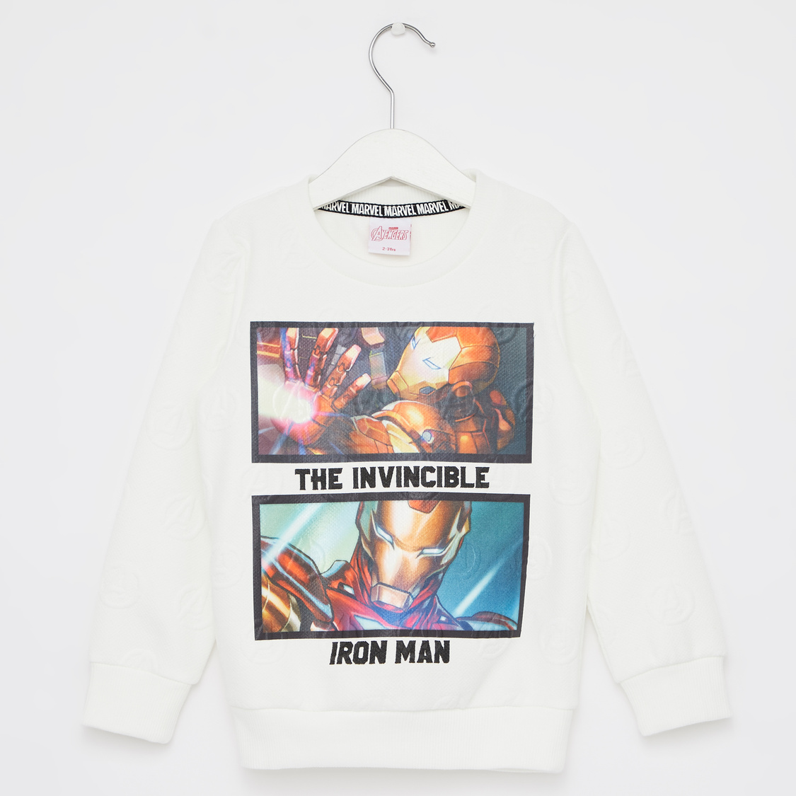Avengers Print Sweatshirt with Round Neck and Long Sleeves