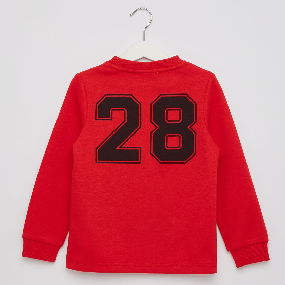 Mickey Embossed Sweat Top with Round Neck and Long Sleeves