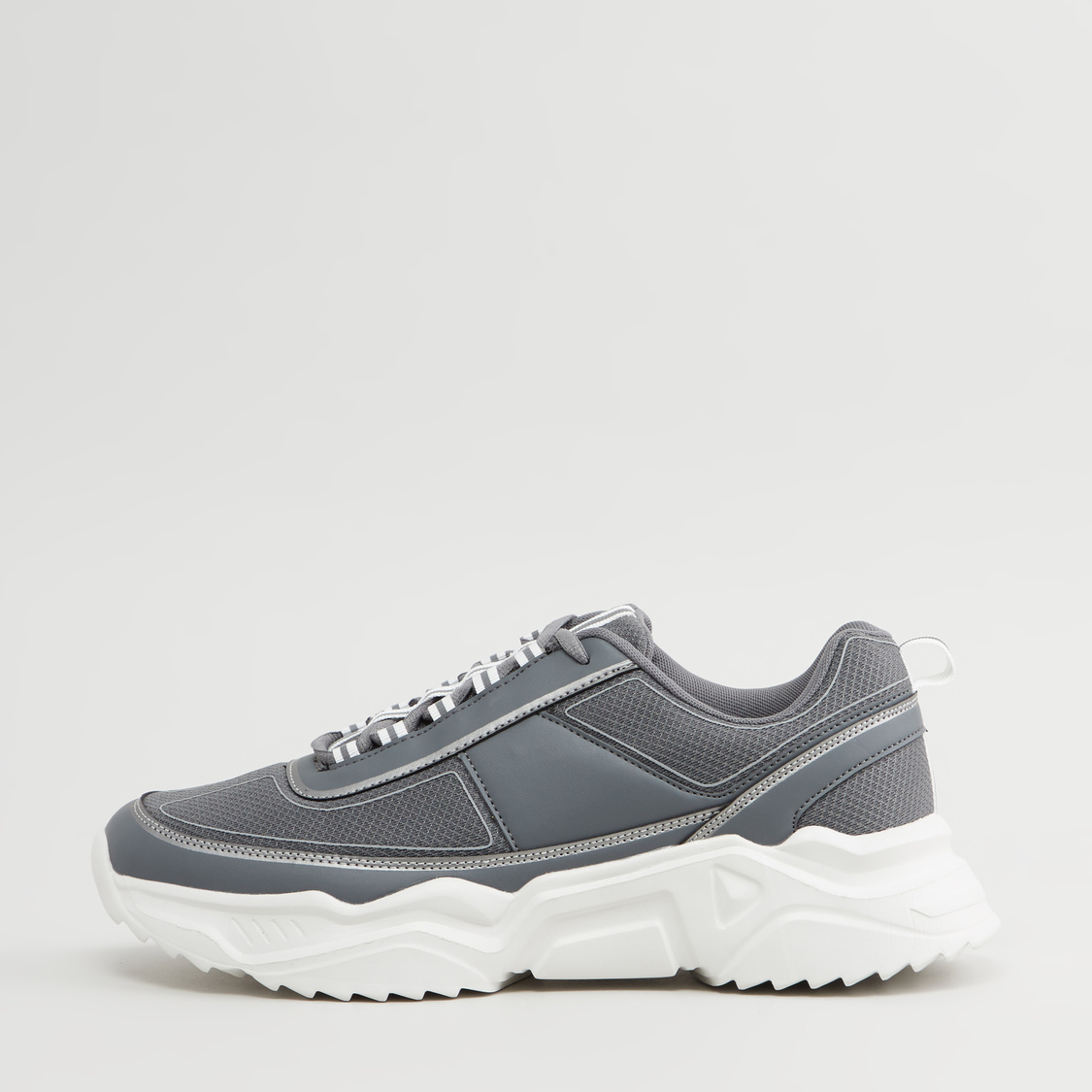 Textured Lace-Up Sports Shoes with Pull Tab
