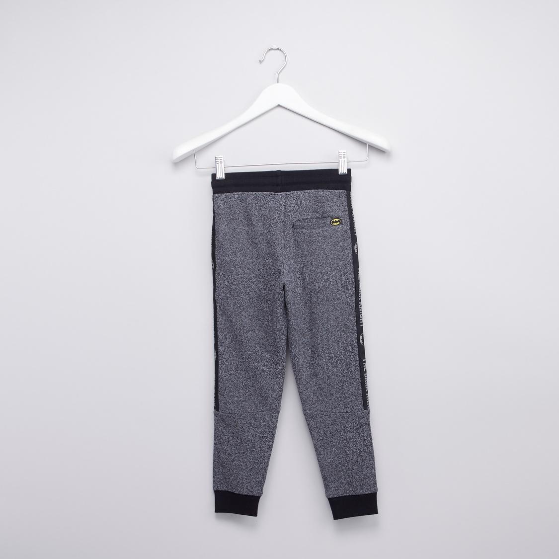 Batman Textured Jog Pants with Drawstring and Pocket Detail
