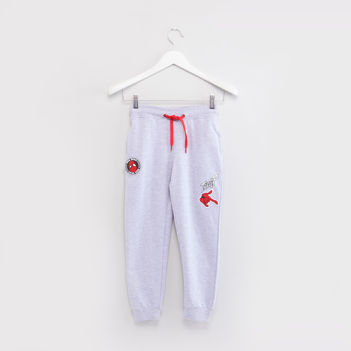 Textured Jog Pants with Spider-Man Badge Applique