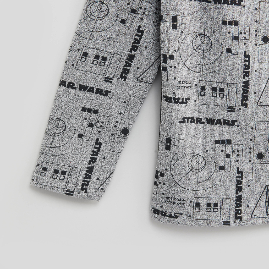 Star Wars Printed T-shirt with Round Neck and Long Sleeves