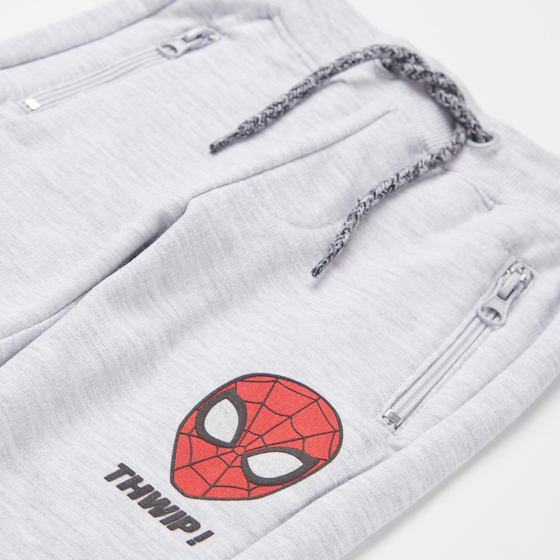 Spider-Man Print Round Neck T-shirt and Jog Pants Set