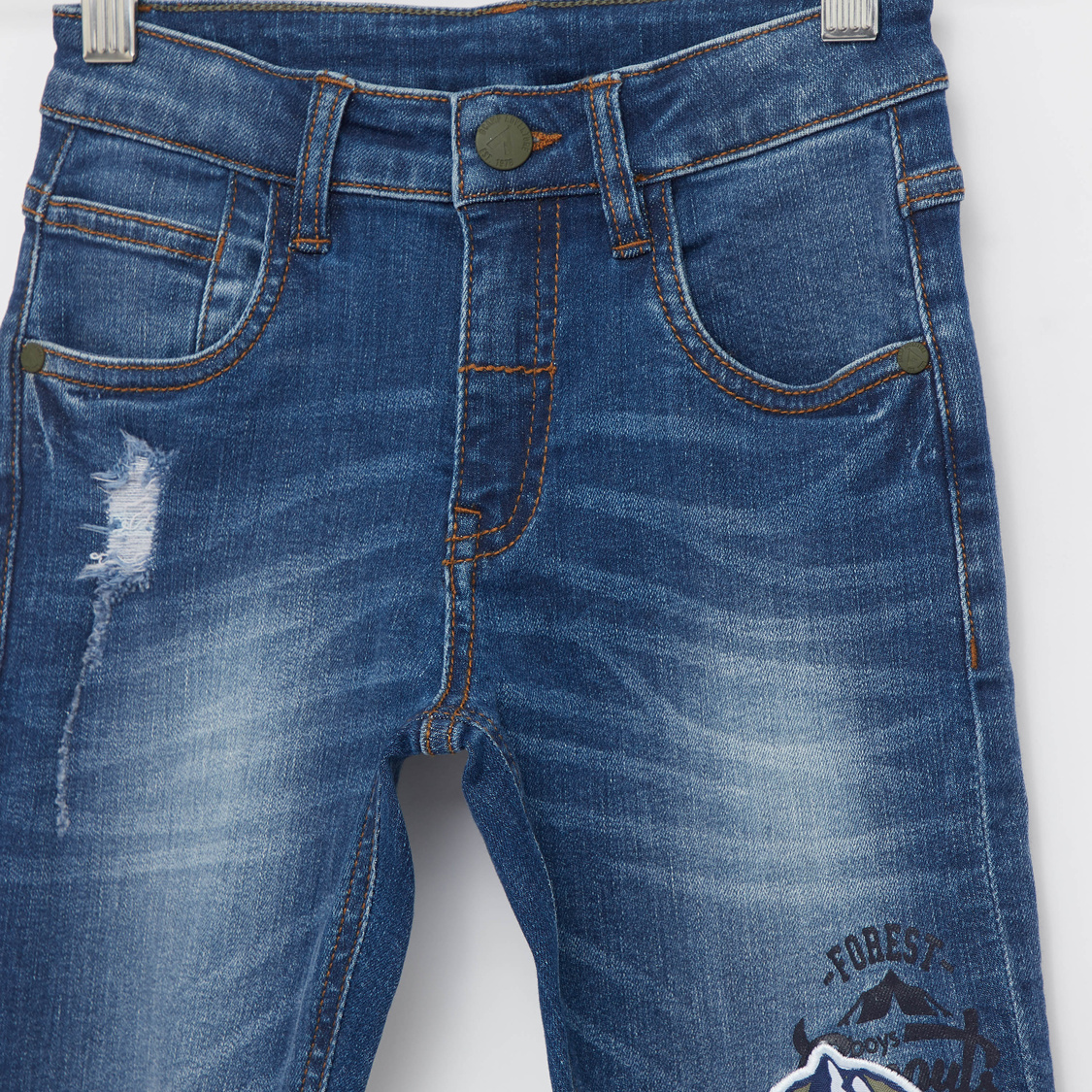 Textured Jeans with Applique Detail