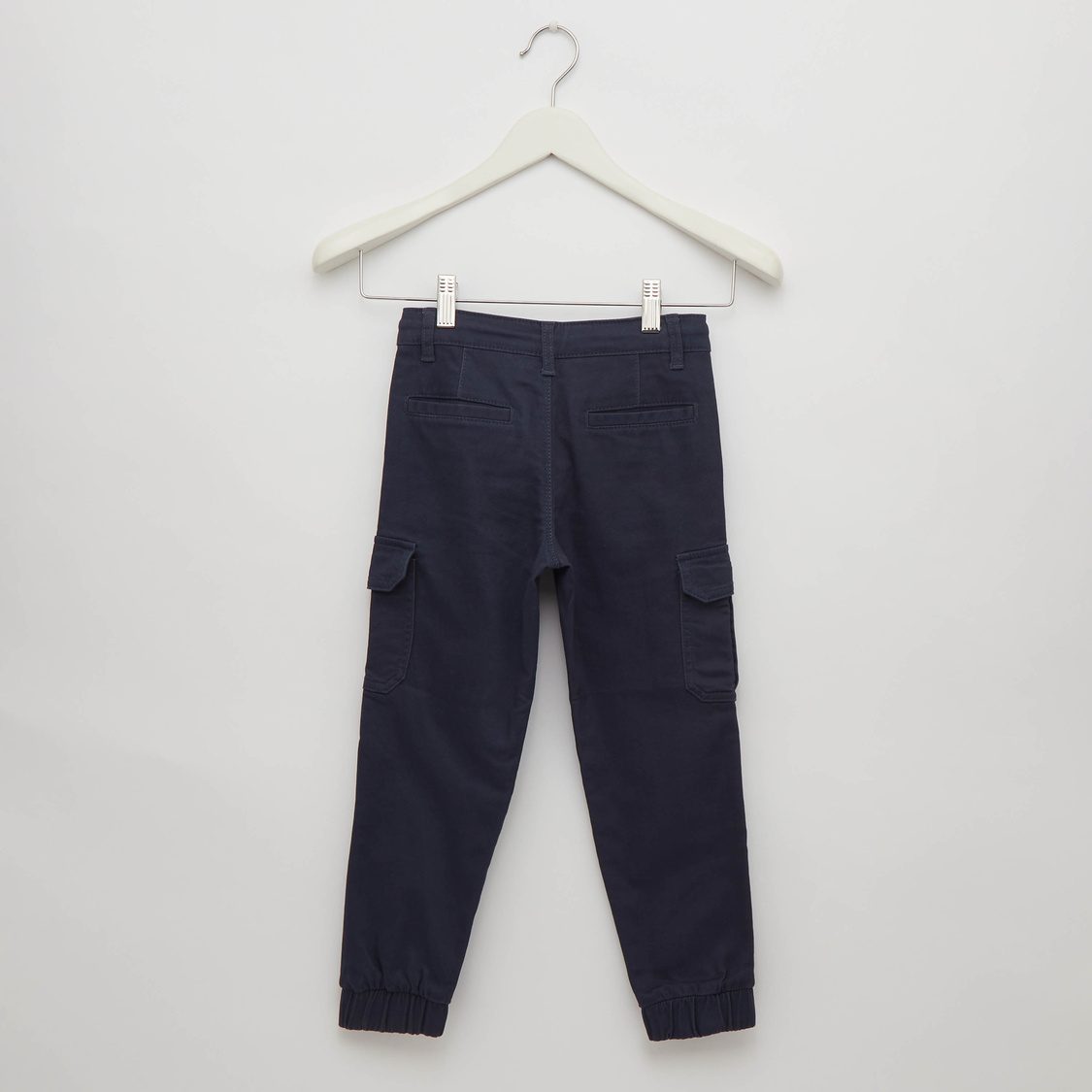 Full Length Cargo Jog Pants with Pockets and Waist Tie-Up