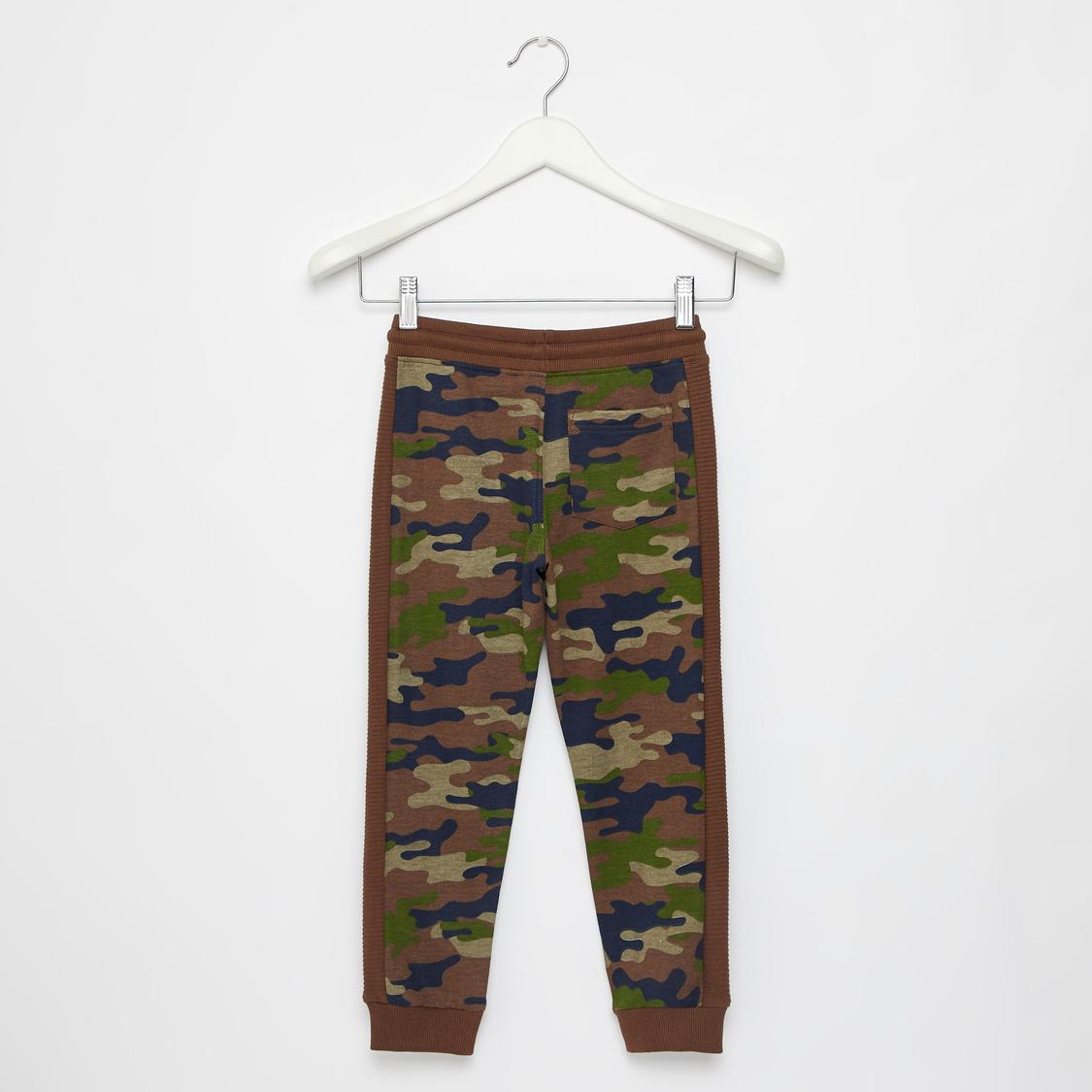 Full Length Camouflage Print Jog Pants with Drawstring Closure