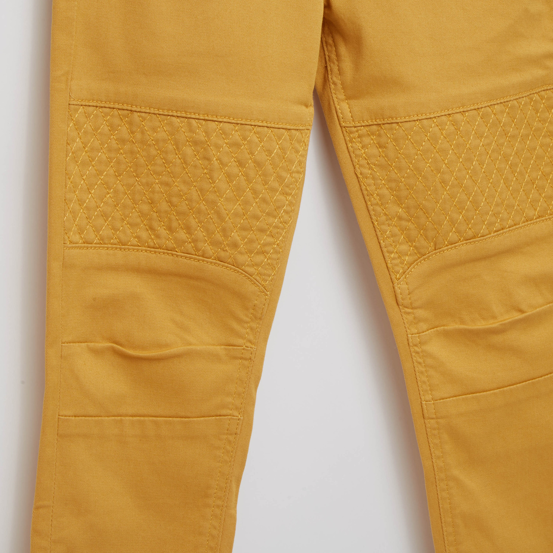 Solid Denim Jeans with Button Closure and Quilted Panel