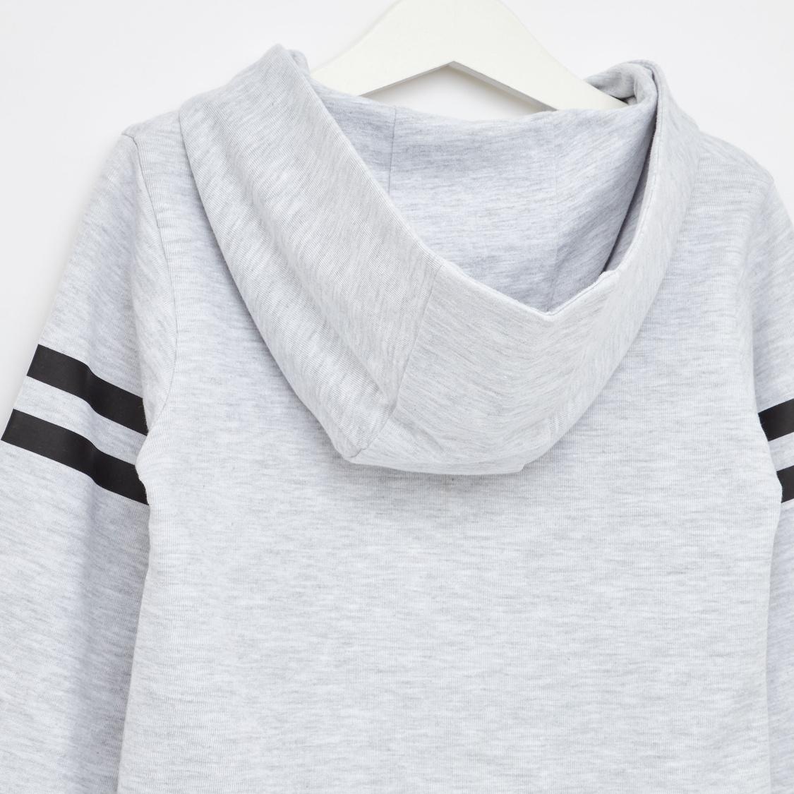 Sequin Embellished Printed Sweatshirt with Long Sleeves and Hood