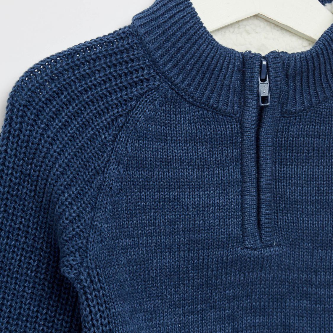 Textured High Neck Sweater with Long Sleeves and Zip Closure