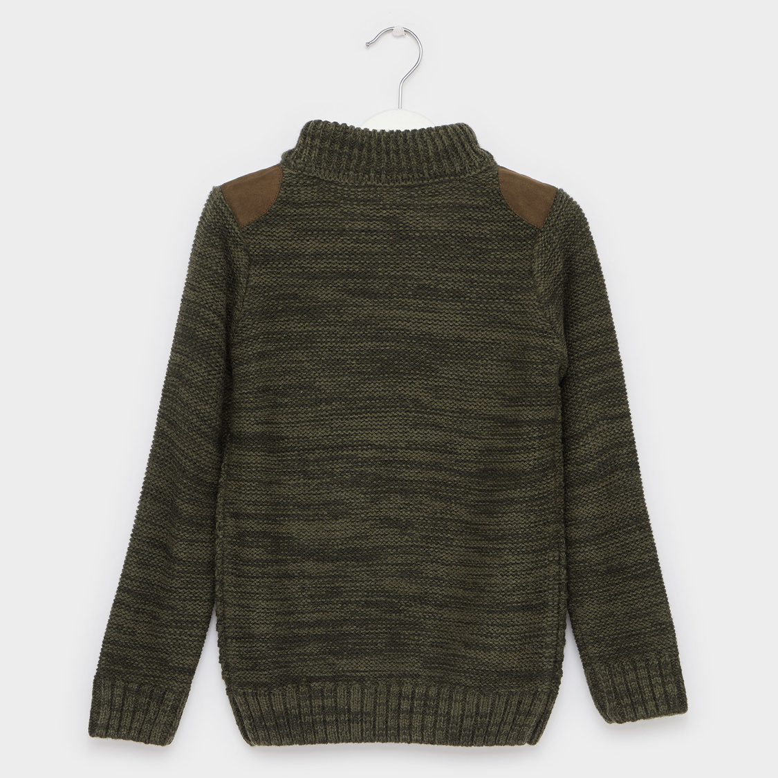 Textured High Neck Sweater with Button Detail and Long Sleeves