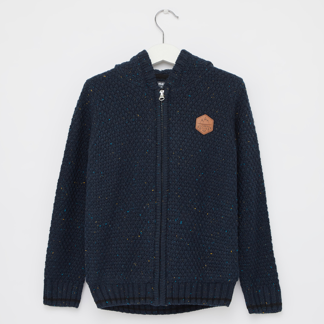 Knitted Hooded Sweater with Long Sleeves and Zip Closure