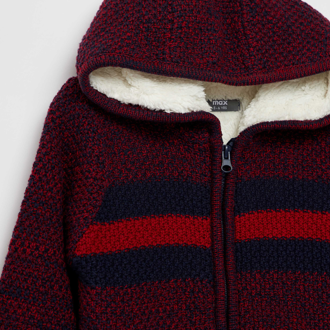 Textured Hooded Neck Sweater with Long Sleeves and Zip Closure