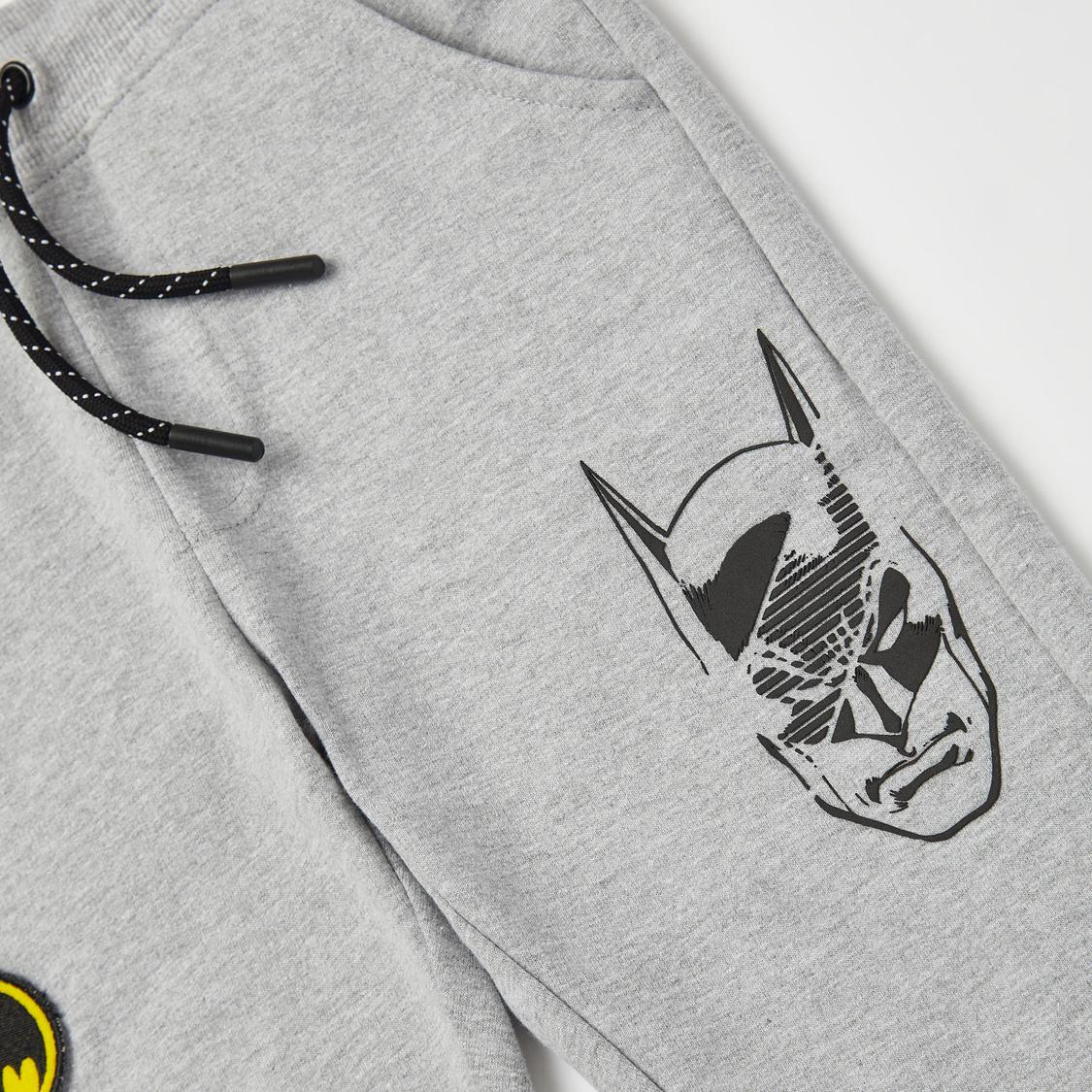 Batman Slogan Hoodie with Printed Full Length Jog Pants