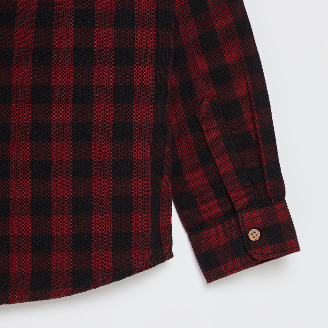 Chequered Shirt with Text Print and Long Sleeves