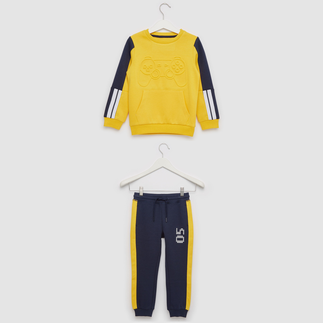 Embossed Print Round Neck Sweat Top and Joggers Set