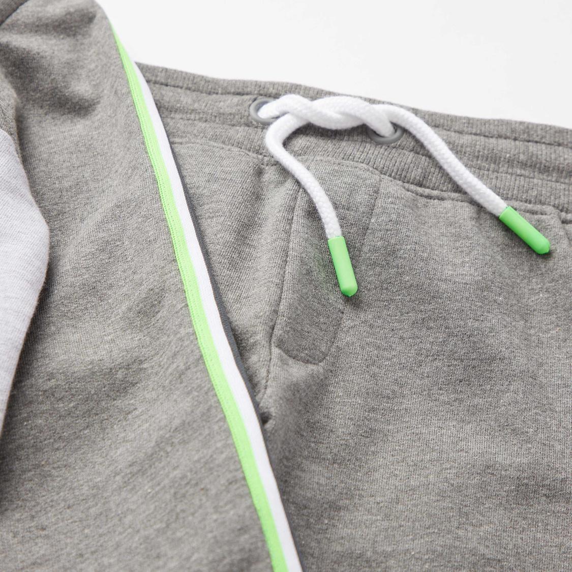 Typographic Print High Neck Sweatshirt with Full Length Jog Pants