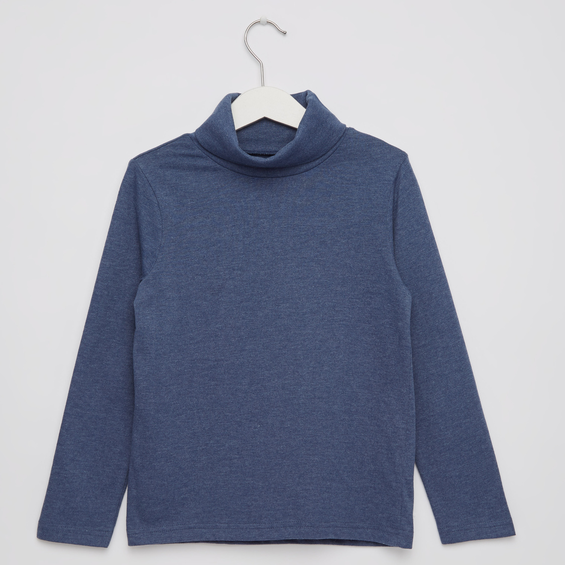 Solid Turtleneck T-shirt with Long Sleeves
