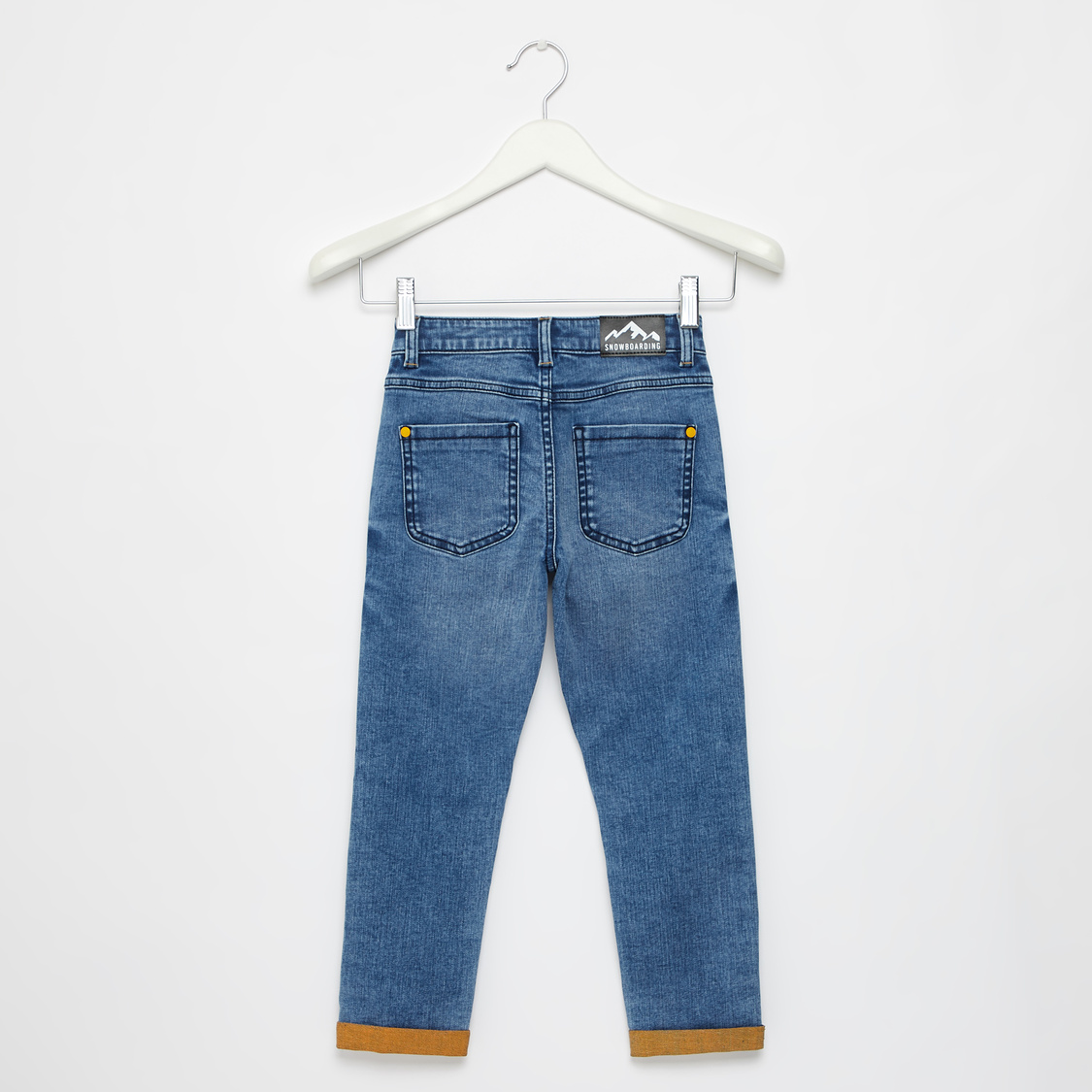 Full Length Embossed Detail Jeans with Pockets and Belt Loops