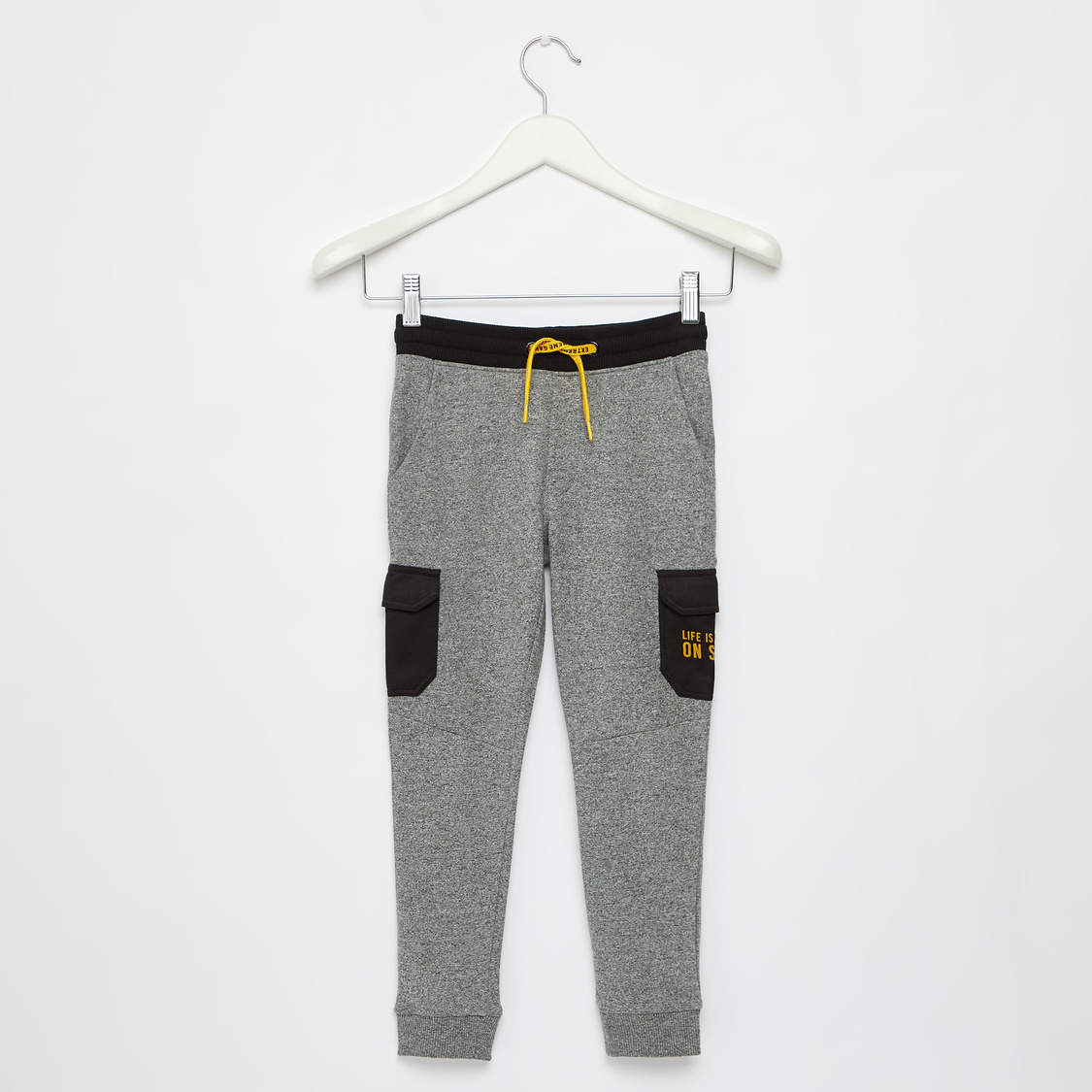 Full Length Printed Jog Pants with Pockets and Drawstring Closure