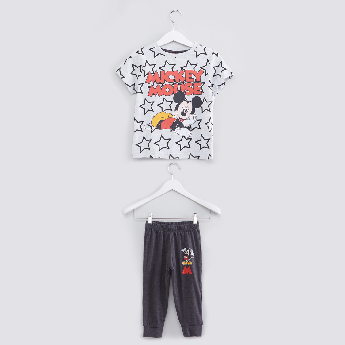 Mickey Mouse Printed Short Sleeves T-Shirt with Jog Pants