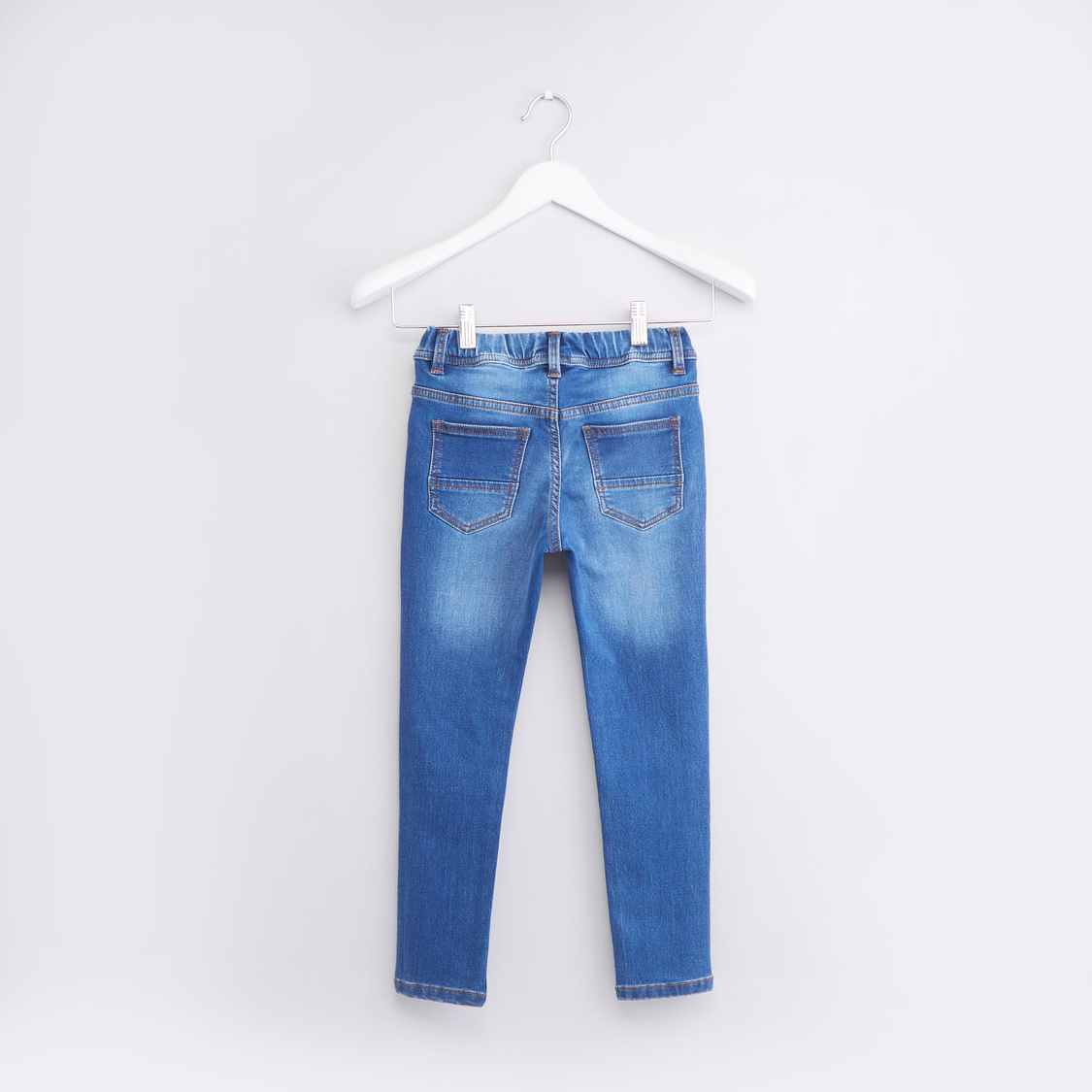Knit Denim Joggers with Whiskers and Drawstring Waist