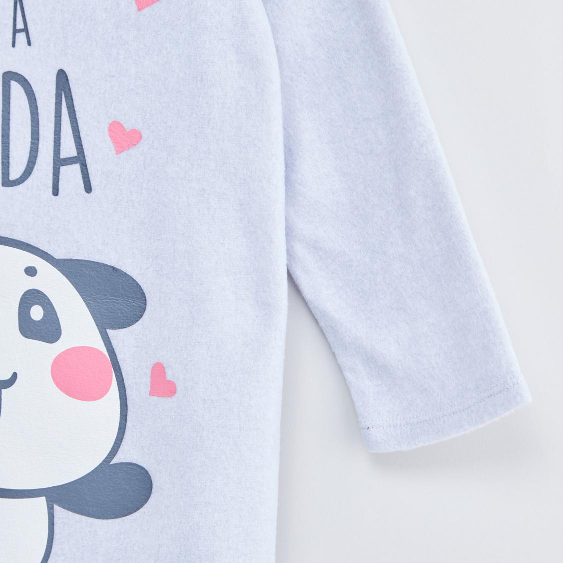 قميص نوم بياقة مستديرة وأكمام طويلة وطبعات - تشكيلة كوزي