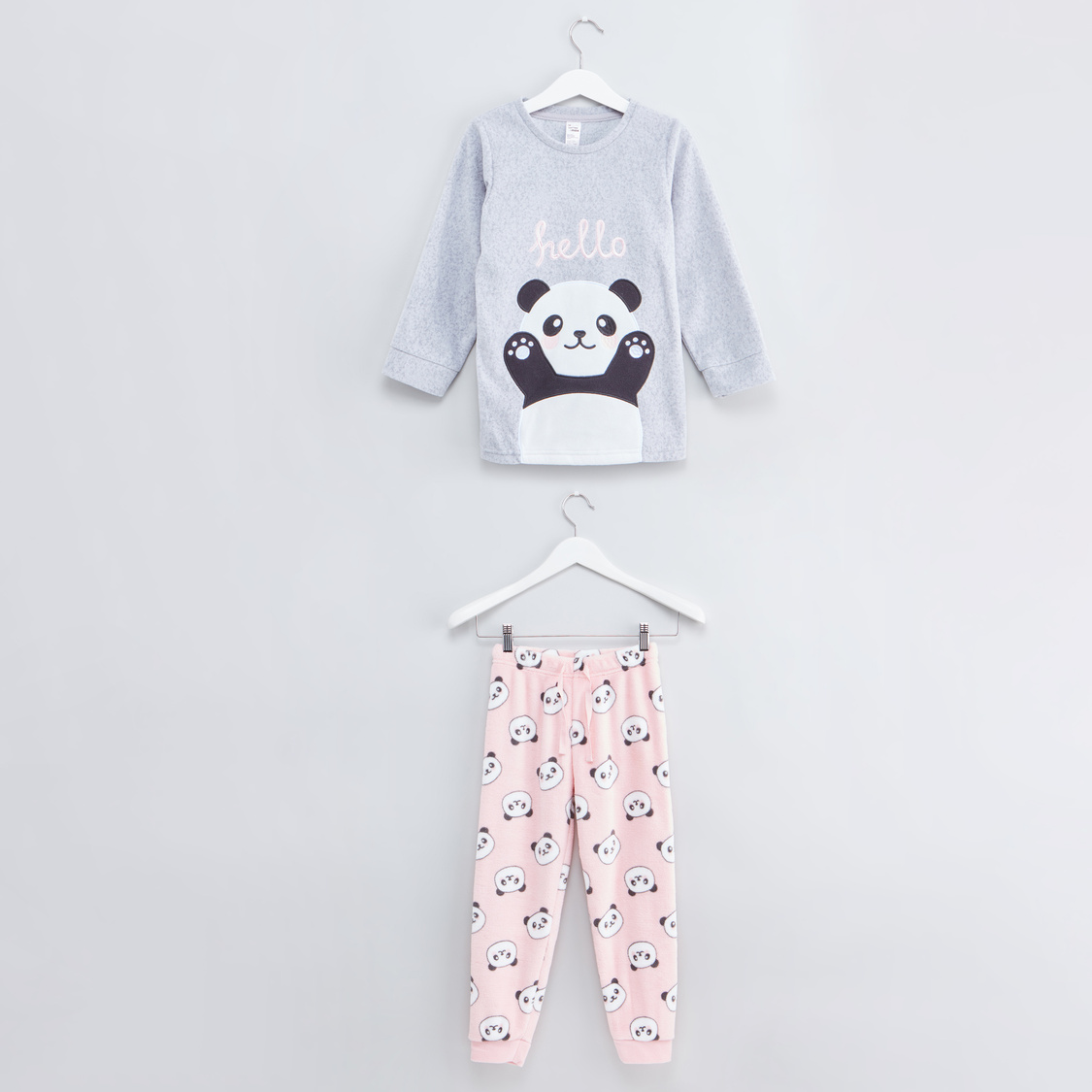 Cozy Collection Printed Round Neck T-shirt with Full Length Jog Pants