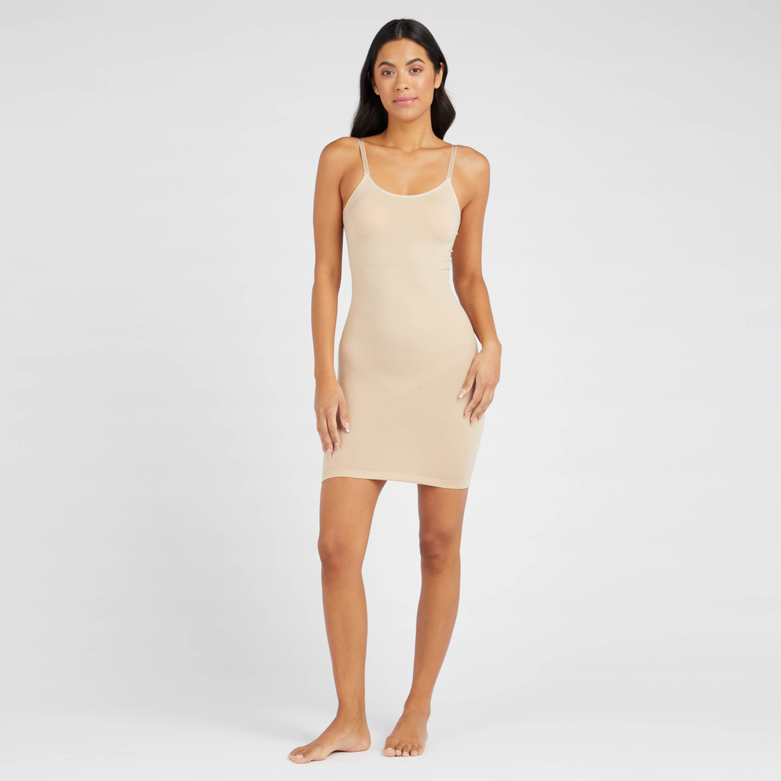 Textured Shaping Bodysuit with Scoop Neck and Adjustable Straps