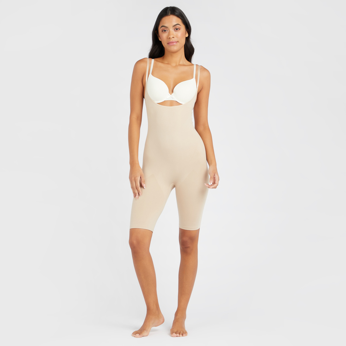 Textured Sleeveless Shaping Bodysuit with Scoop Neck