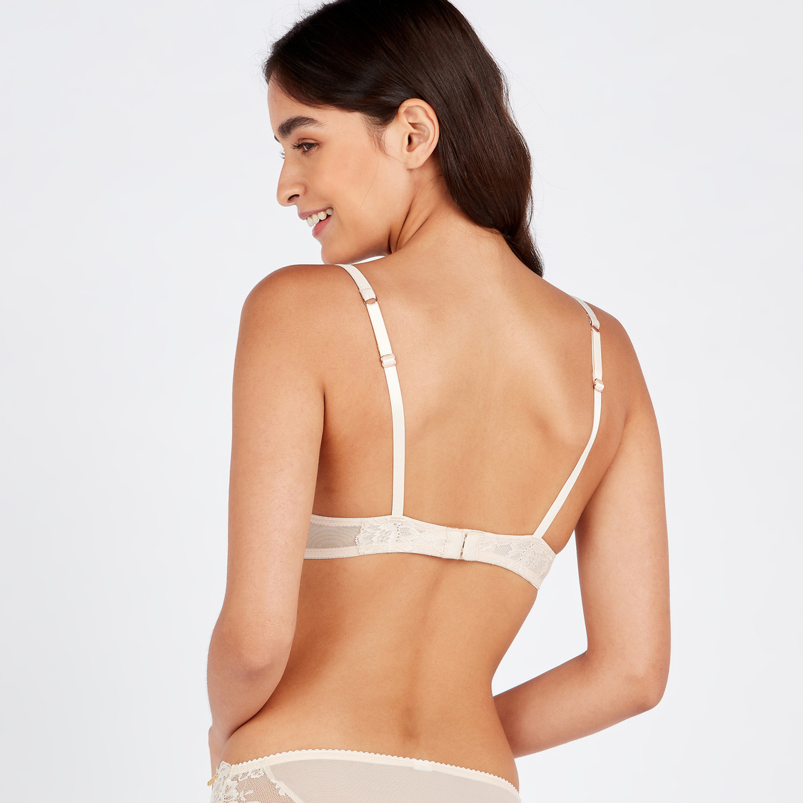 Pleated Plunge Bra with Hook and Eye Closure