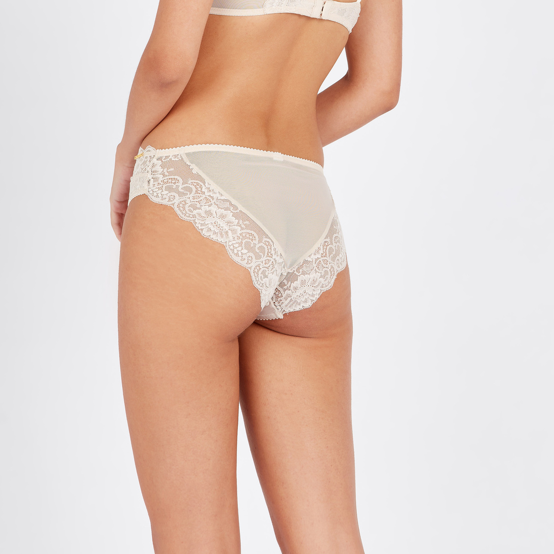 High Leg Briefs with Textured Lace Panels