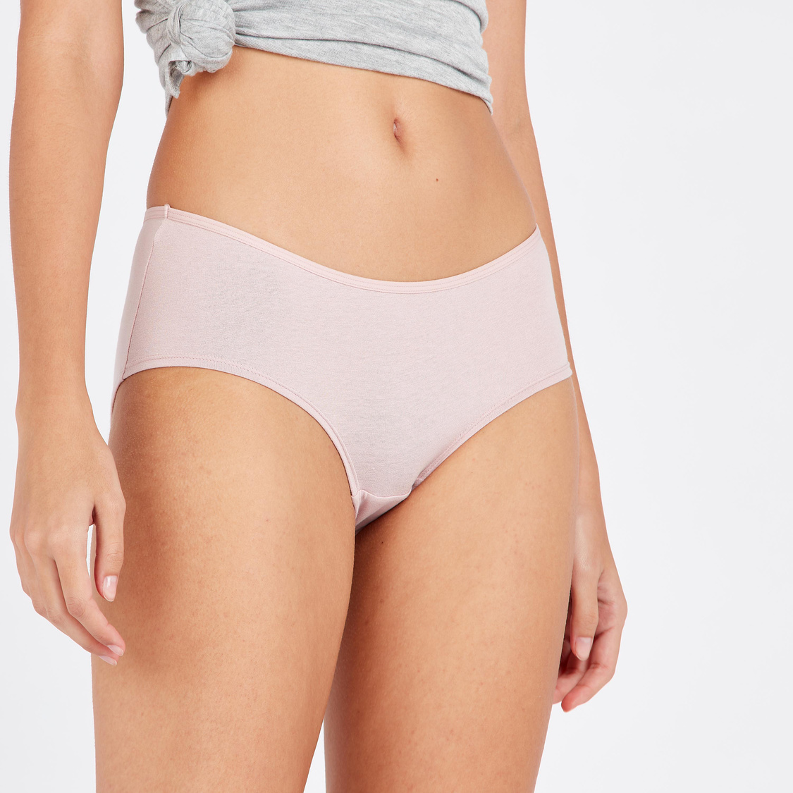 Set of 5 - Solid Boyleg Briefs with Elasticated Waistband
