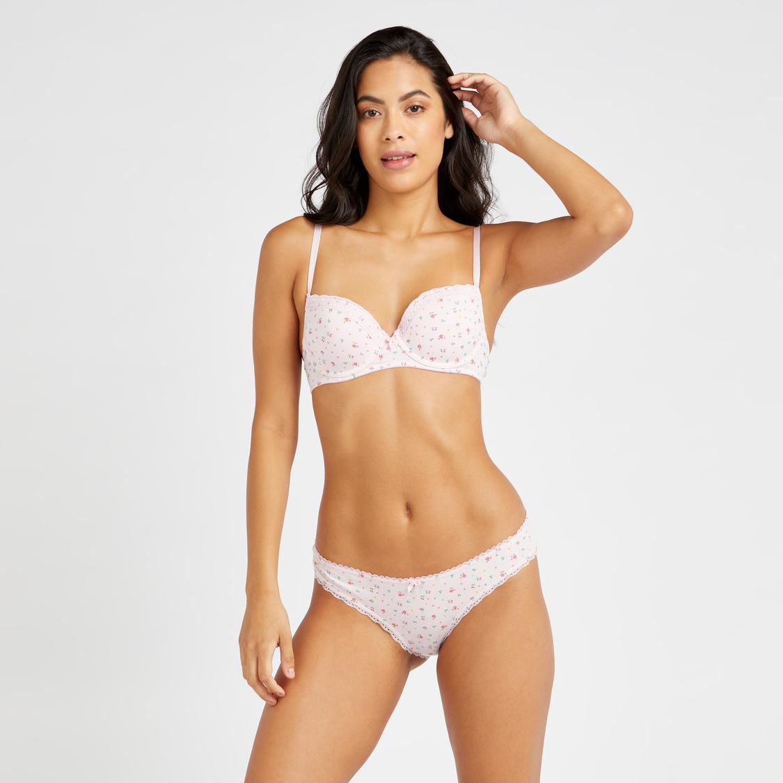 Floral Print Bikini Briefs with Lace Detail Elasticated Hem