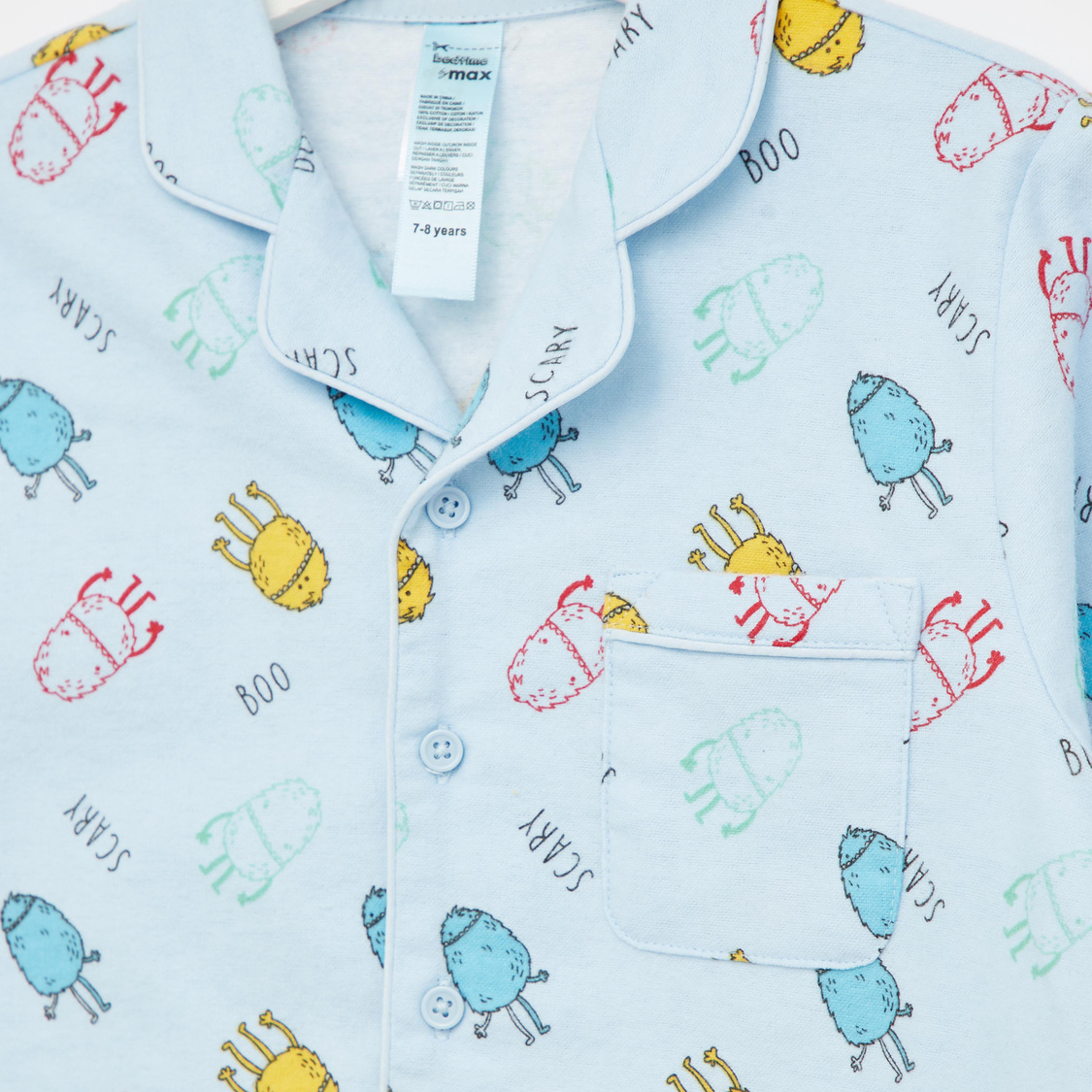 Cozy Collection Printed Collared Shirt and Pyjama Set