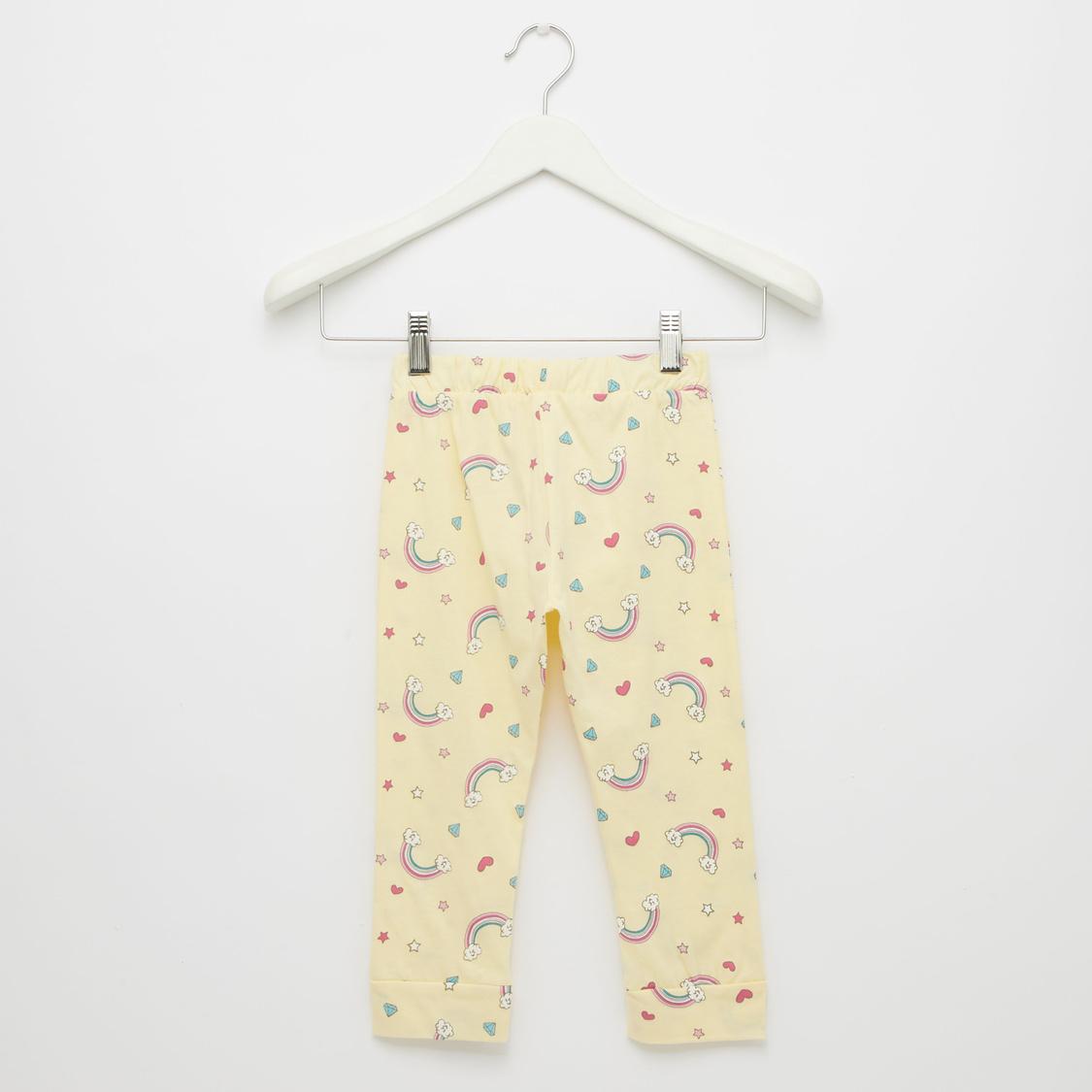 All-Over Rainbow Print Round Neck T-shirt and Pyjama Pants