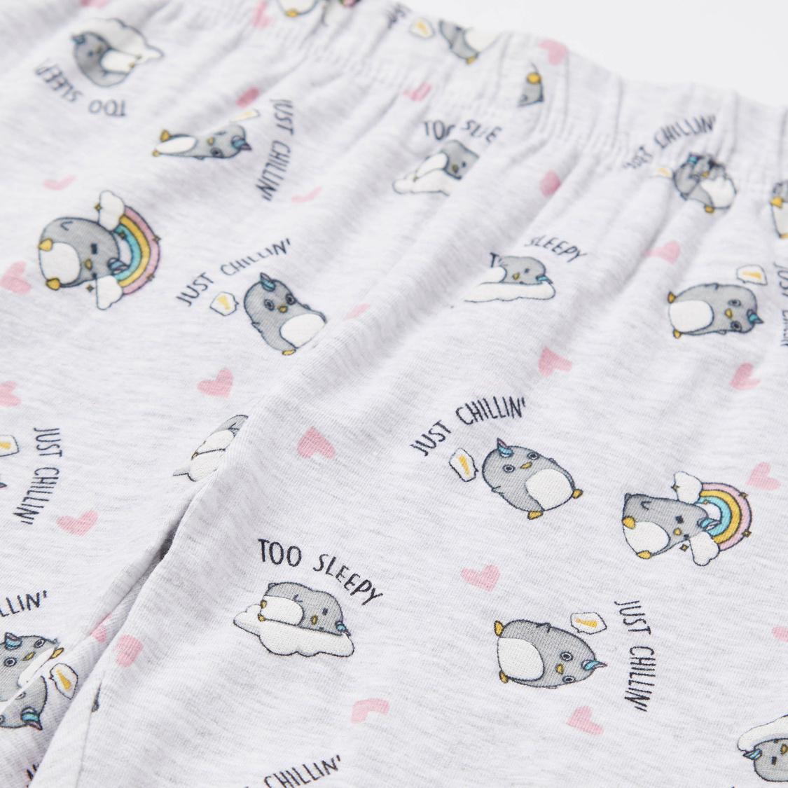 Cozy Collection Printed Sweatshirt and Full Length Pyjama Set