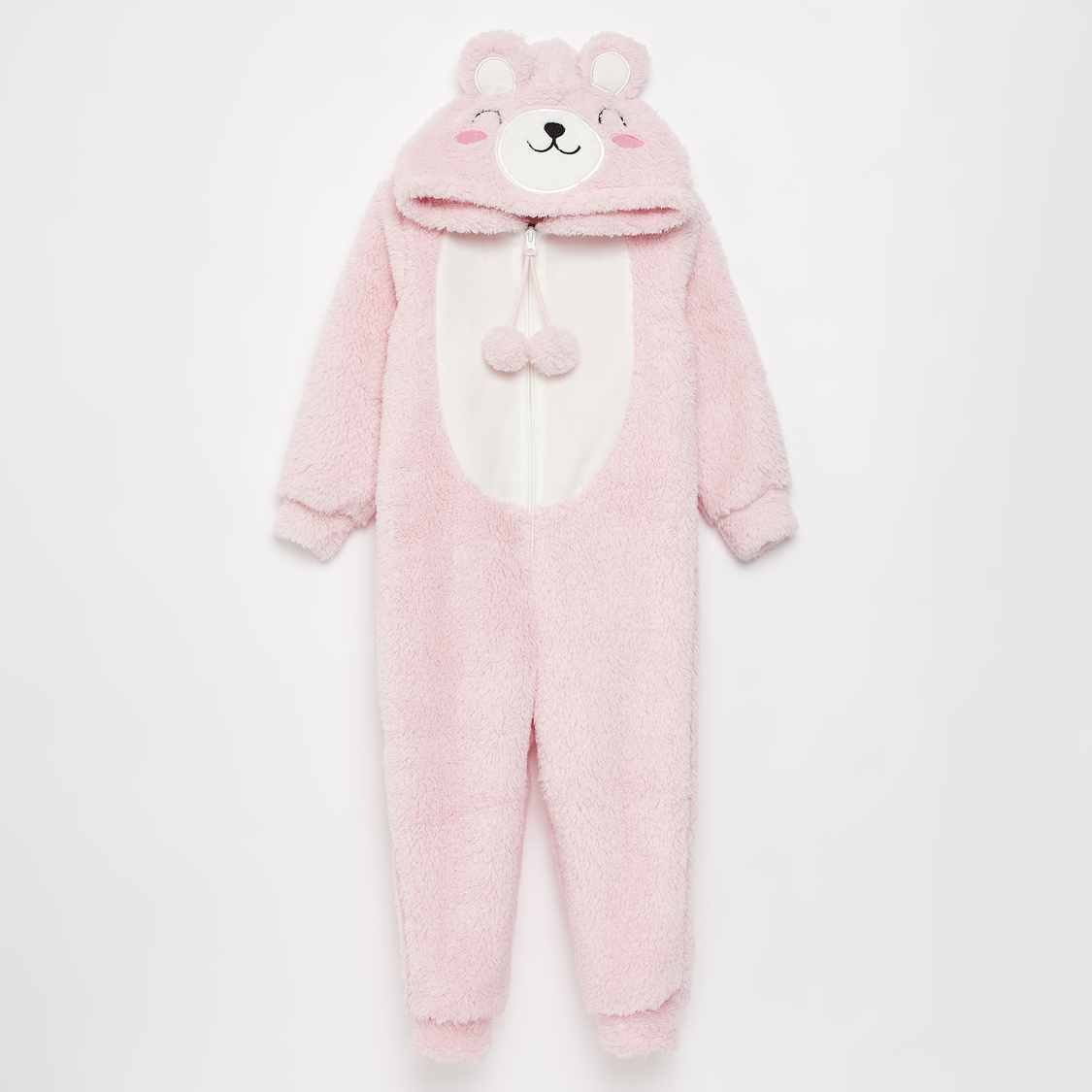 Bear Applique Hooded Onesie with Long Sleeves and Zipper