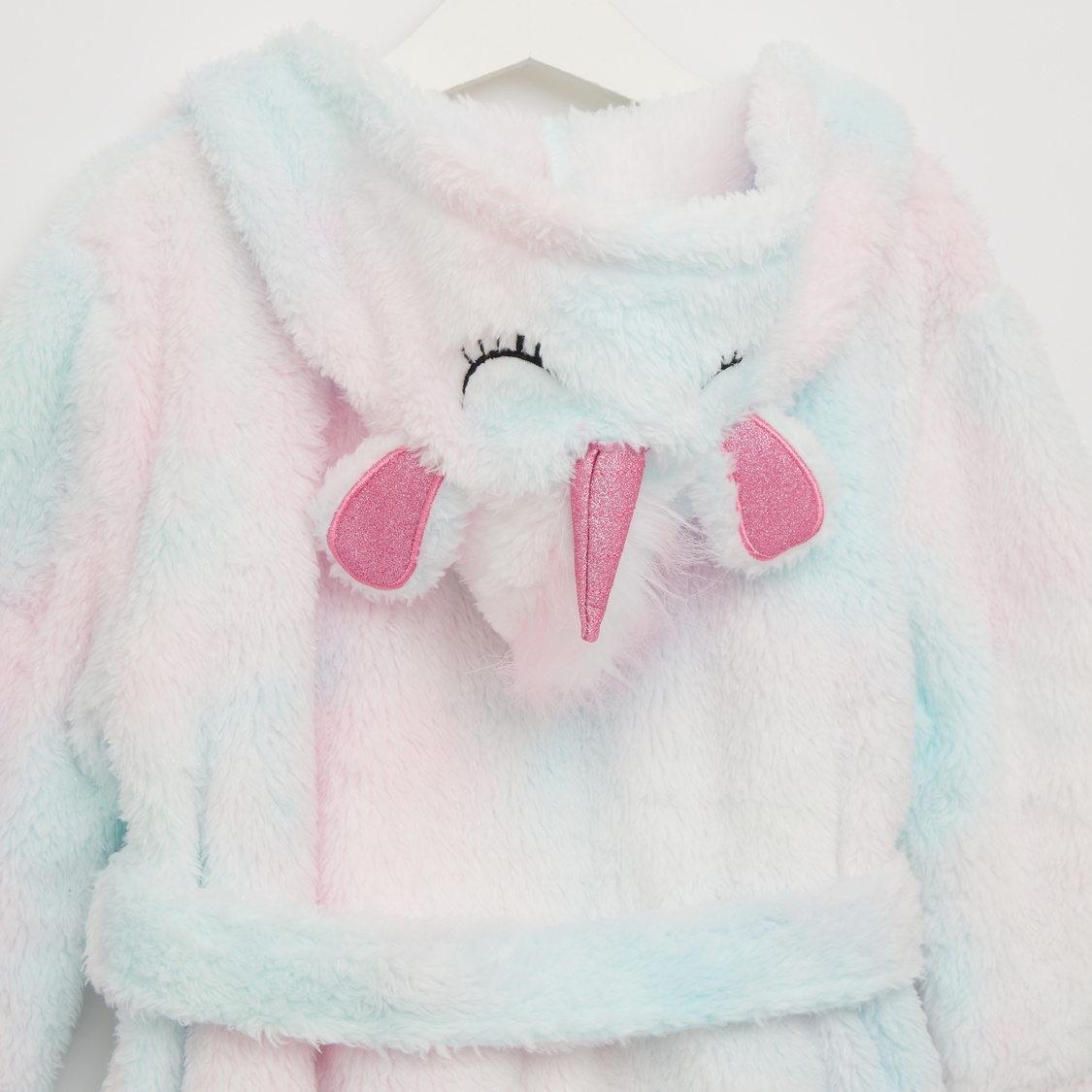 Cozy Collection Textured Hooded Neck Unicorn Robe with Tie-Ups