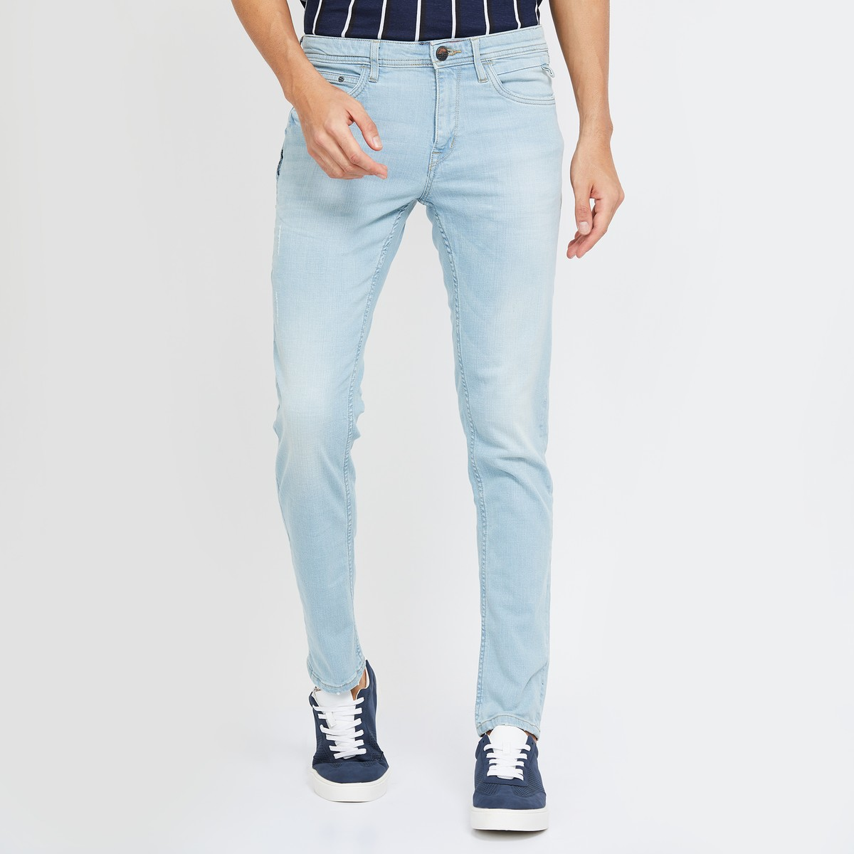 Sky blue washed jeans