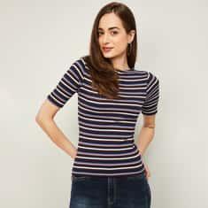 GINGER Women Striped Round Neck T-shirt