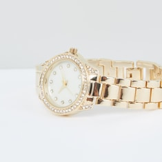 Studded Wristwatch with Metallic Strap and Fold Over Clasp