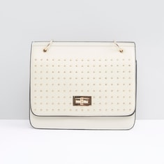 Embellished Crossbody Bag with Twist and Lock Closure