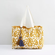 Printed Shopper Bag with Tassel Detail