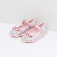 Glitter Detail Shoes with Bow Applique