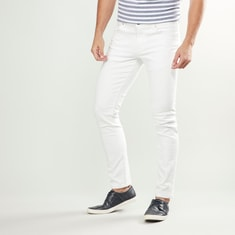 Slim Fit Solid Trousers with Pockets and Button Closure