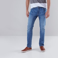 Fashion Washed Jeans with Pocket Detail and Button Closure