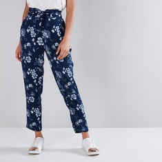Mid-Rise Floral Printed Pants with Paper Bag Waist