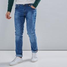 بنطال جينز طويل بزر إغلاق وجيوب
