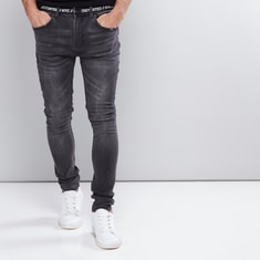 Full Length Tape Detail Jeans with Button Closure and Pocket Detail
